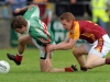 7/8/2010 Stephen Hughes, Ballina Stephenites in action against James O'MAlley, Ballinrobe in the Mayo senior club football championship at Flanagan Park, Ballinrobe. Picture Ray Ryan